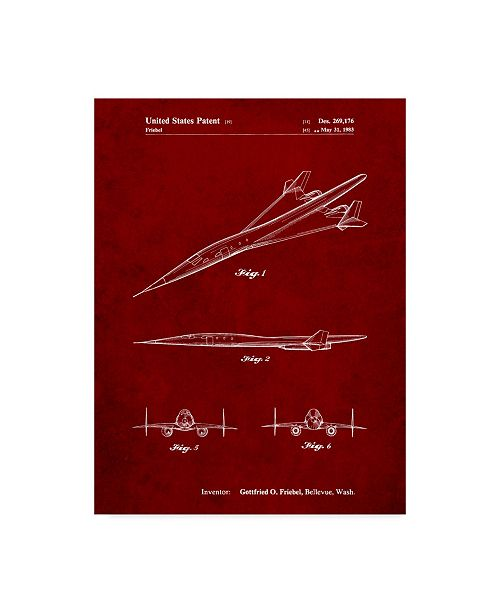 "Trademark Innovations Cole Borders 'Boeing Supersonic Transport Concept' Canvas Art - 47"" x 35"" x 2"""