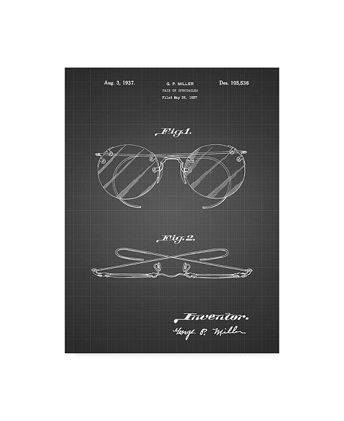 "Trademark Innovations Cole Borders 'Eyeglasses Spectacles Patent Art' Canvas Art - 24"" x 18"" x 2"""