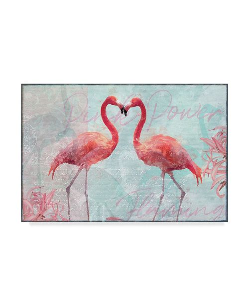 "Trademark Global Cora Niele 'Flamingo Power' Canvas Art - 24"" x 16"" x 2"""