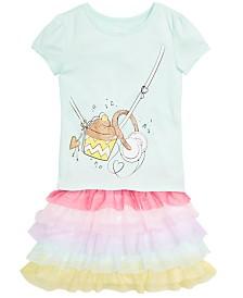 Epic Threads Little Girls Graphic-Print T-Shirt & Rainbow Ruffle Skirt, Created for Macy's