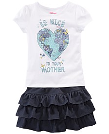 Epic Threads Little Girls Graphic-Print T-Shirt & Tiered Denim Skirt, Created for Macy's