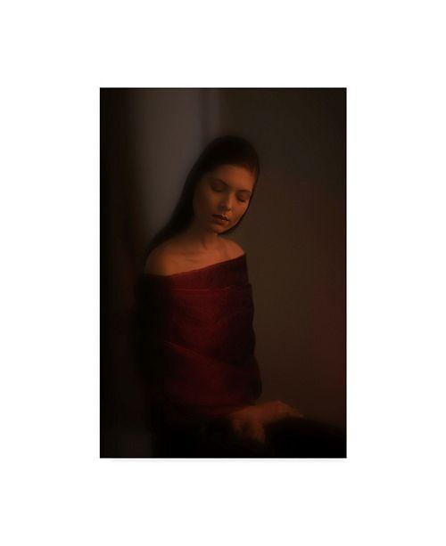 "Trademark Global David Minster 'Portrait In Red' Canvas Art - 16"" x 2"" x 24"""
