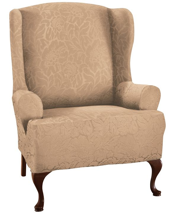 P/Kaufmann Home Floral Wing chair Stretch  Slipcover