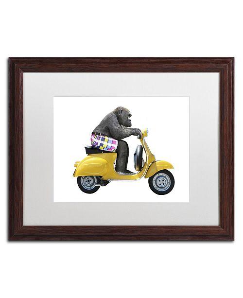 """Trademark Global J Hovenstine Studios 'Monkeys Riding Bikes #4' Matted Framed Art - 20"""" x 16"""" x 0.5"""""""
