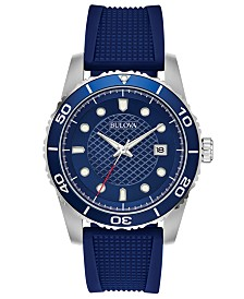 Bulova Men's Blue Silicone Strap Watch 42mm, Created for Macy's