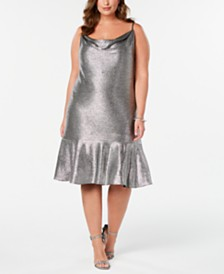 Nightway Plus Size Metallic Cowlneck Dress