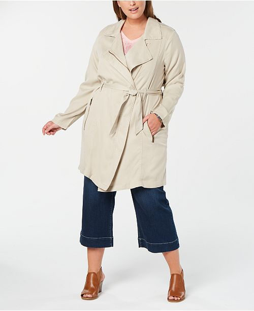 Style & Co Plus Size Belted Trench Coat, Created for Macy's