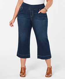 Style & Co Plus Size Wide-Leg Capri Jeans, Created for Macy's