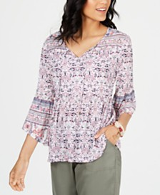 Style & Co Mesh Lantern-Sleeve Peasant Top, Created for Macy's