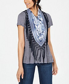Fringe Scarf & Ruffled Top, Created for Macy's