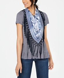 Style & Co Fringe Scarf & Ruffled Top, Created for Macy's