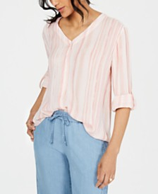 Style & Co Striped Tie Front Top, Created for Macy's