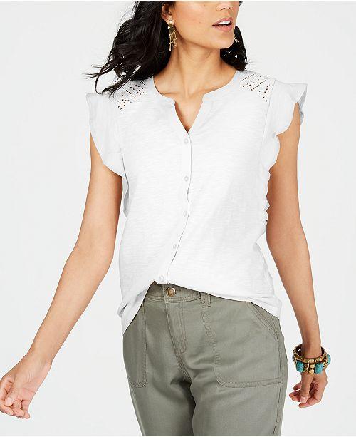 Style & Co Eyelet Sleeveless Shirt, Created for Macy's