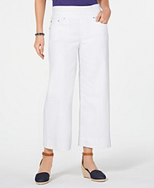 Plus Size Pull-On Wide-Leg Cropped Jeans, Created for Macy's