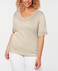 Karen Scott Plus Size Cotton Lace-Trim T-Shirt, Created for Macy's