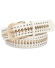 I.N.C. Chain Link Faux Leather Belt, Created for Macy's