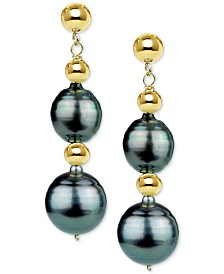 Cultured Baroque Tahitian Pearl (8-10mm) & Bead Drop Earrings in 14k Gold