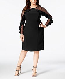 Plus Size Illusion Ruffle Sheath Dress