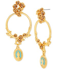 "Steve Madden Gold-Tone Religious Pendant Floral Hoop Extra Large 2-3/4"" Drop Earrings"