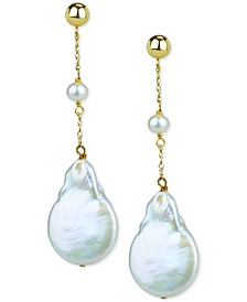Cultured Freshwater (4-5mm) & Baroque Button Pearl (15mm) Drop Earrings in 14k Gold