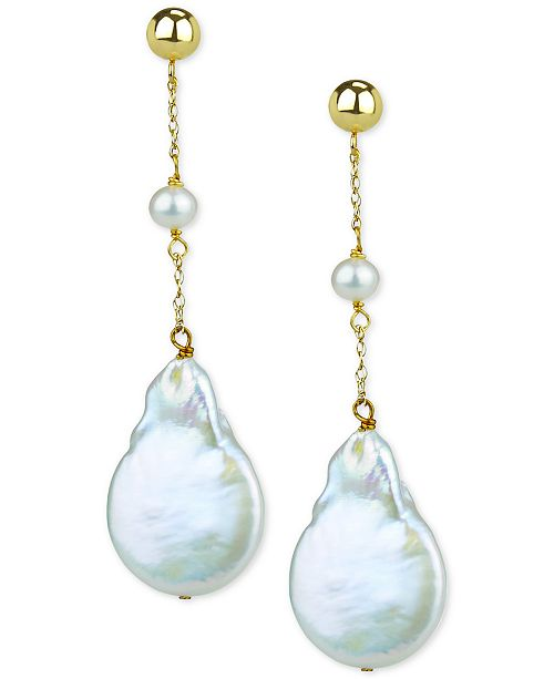 Macy's Cultured Freshwater (4-5mm) & Baroque Button Pearl (15mm) Drop Earrings in 14k Gold