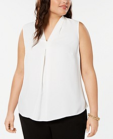 Trendy Plus Size Inverted-Pleat Top, Created for Macy's