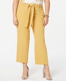 Bar III Plus Size Textured Crepe Pants, Created for Macy's