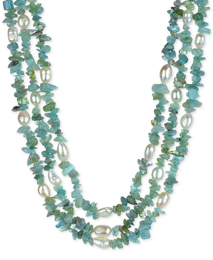 """Macy's - Cultured Baroque Freshwater Pearl (8mm) & Gemstone 18"""" Necklace in Sterling Silver"""