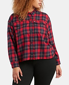 Levi's® Trendy Plus Size Ash Plaid Shirt