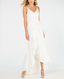 Adrianna Papell Ruffled High-Low Gown