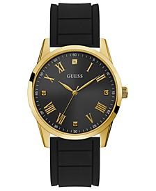 Men's Diamond-Accent Black Silicone Strap Watch 42mm
