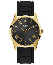 GUESS Men's Diamond-Accent Black Silicone Strap Watch 42mm