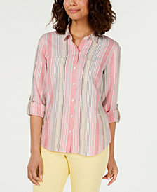 Charter Club Striped Roll-Tab-Sleeve Shirt, Created for Macy's