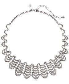 "I.N.C. Silver-Tone Pavé Scalloped Collar Necklace, 16"" + 3"" extender, Created for Macy's"