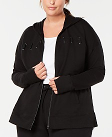 Ideology Plus Size Lace-Up Zip Hoodie, Created for Macy's