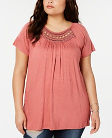 Eyeshadow Trendy Plus Size Grommet-Trim Top
