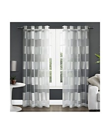 Exclusive Home Navaro Striped Sheer Grommet Top Curtain Panel Pair