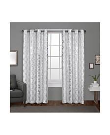 Exclusive Home Modo Metallic Geometric Grommet Top Curtain Panel Pair