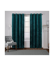 Exclusive Home Velvet Heavyweight Grommet Top Curtain Panel Pair