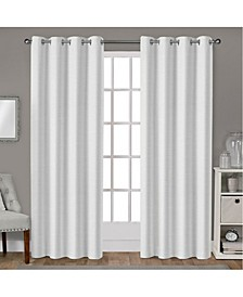 Leeds Textured Slub Woven Blackout Grommet Top Curtain Panel Pair