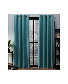 Exclusive Home Oxford Textured Sateen Woven Blackout Grommet Top Curtain Panel Pair