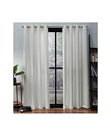 Oxford Textured Sateen Woven Blackout Grommet Top Curtain Panel Pair