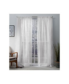 Exclusive Home Monet Pleated Sheer Linen Cabana Stripe Rod Pocket Curtain Panel Pair