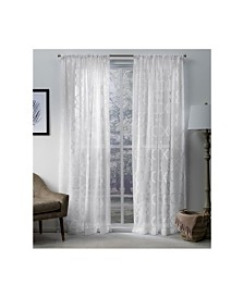 Exclusive Home Muse Geometric Jacquard Linen Sheer Rod Pocket Curtain Panel Pair