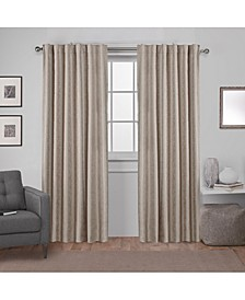 Zeus Solid Textured Woven Blackout Hidden Tab Curtain Panel Pair