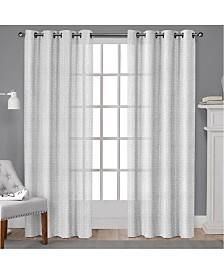 Exclusive Home Winfield Metallic Sheen Basketweave Grommet Top Curtain Panel Pair