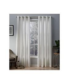 Whitby Metallic Slub Yarn Textured Silk Look Grommet Top Curtain Panel Pair