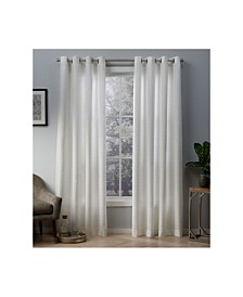 Exclusive Home Whitby Metallic Slub Yarn Textured Silk Look Grommet Top Curtain Panel Pair