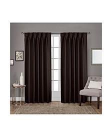 Sateen Twill Woven Blackout Pinch Pleat Curtain Panel Pair