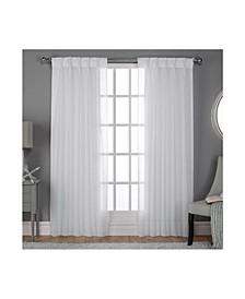 Belgian Textured Sheer Pinch Pleat Curtain Panel Pair